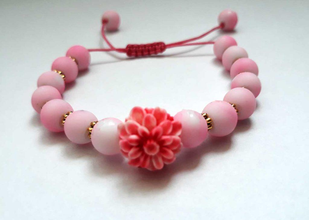 دستبند دخترانه سنگ صورتی طرح شکوفه